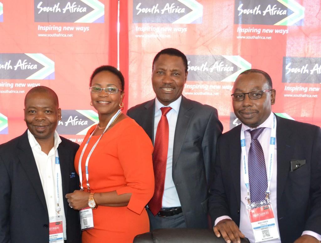 (L-R) Phillip Sithole - Head of Durban Tourism, Lindiwe Rakharebe - Durban ICC CEO, Thulani Nzima - SA Tourism CEO and Ndabo Khoza - Tourism KwaZulu-Natal CEO at the 2016 Indaba announcement. Photo: Marlan Padayachee