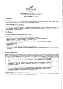 Request for Quotation - Hotel feasibility study - Durban ICC